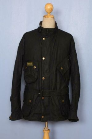 BARBOUR International Belted Waxed Jacket Black Size 52 XXL